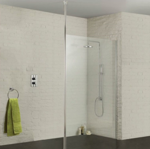 Sommer Wetroom Glass Panel 1200mm - Ceiling Pole Option